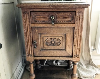 19th century French oak pot stand with original sunken marble top.