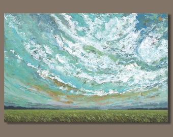 abstract sky painting, large cloud painting, large landscape painting, prairie fields painting, Alberta, 24x36, prairies, plains wall art