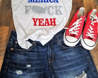 4th of July Tank Tops - Merica Fuck Yeah Tank Top - 4th of July Shirt Women - USA Shirt - Patriotic Womans Clothing - Cute 4th of July tank