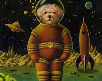 Space Dog Portrait, Sci Fi Print, Dog Print, Retro Dog Print, Dog Art, Astronaut, Dog Lover's Gift, Dog Owner's Gift, Pet Portrait, Rocket