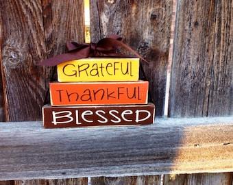 Thanksgiving MINI wood stacker blocks- grateful thankful blessed