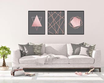 Rose Gold Wall Art Set, Living Room Wall Art Set, Rose Gold Bedroom Decor