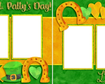 Lucky Horseshoes - St. Patrick's Day - Digital Scrapbooking  Quick Pages - INSTANT DOWNLOAD