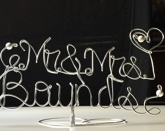 wedding Topper Cake - Wedding Cake Topper - Wire Cake Topper - Mr and Mrs Cake Topper - Personalized Cake Topper - Name Cake Topper