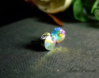 Rock N Roll Metallic Aurora Borealis/ Northern Lights Swarovski Crystal earrings stud style