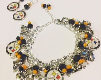 Pittsburgh Steelers Chunky Charm Bracelet and Earrings