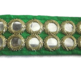 Green Mirror Trim Indian Dress Belts Lace Trim  Sari Border Scarf Border Mirror Trim By The Yard-Width 1 inches-Price Per 01 Yard-KB133