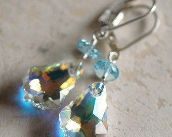 Bridal Earrings, Baroque Crystal AB and Blue Topaz Gemstones, Sterling Silver Leverbacks