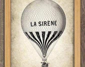 Air Balloon Print - Vintage Aeronautica Illustration - Balloon Art - Digital Art - Printable Art - Digital Print #16 - INSTANT DOWNLOAD