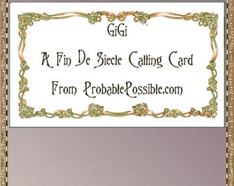 GiGi; A garlanded  calling card for you to print