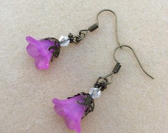 Purple Lucite flower earrings, bronze finish,