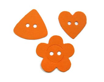 Triangle Heart and Flower Paper Button  Die Cuts set of 30