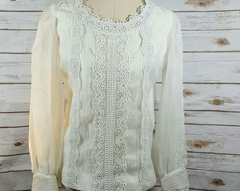 60's Victorian inspired blouse, Small/Medium