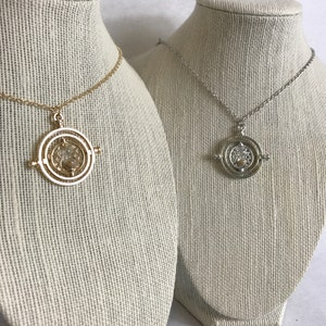 Miniature temps Turner inspiré Hermione Harry P Deathly Hollows or Collier argent chaîne fantastique Gryffondor sable charme Spinner