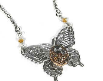 Steampunk Jewelry Necklace Silver Butterfly ROSE Gold PINSTRiPED Watch Topaz Crystal Mothers Day Gift Steampunk Fashion  - by edmdesigns