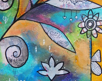 Chose Love -037-Mixed Media Painting by Carianne James