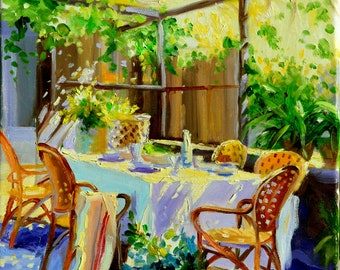 Original Painting of ONDER DIE PRIEEL, French patio, outdoor scene,impressioinistic painting