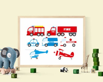 Rescue clipart set, emergency printables, police car clipart, fire truck, police helicopter, fire brigade, fire engine download, ambulance