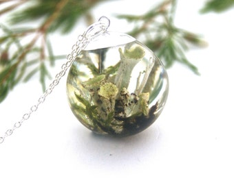 Lichen necklace. Terrarium necklace. Sterling Silver. Nature jewellery. Botanical Necklace. Forest jewelry. Woodland. OCEAN PETALS