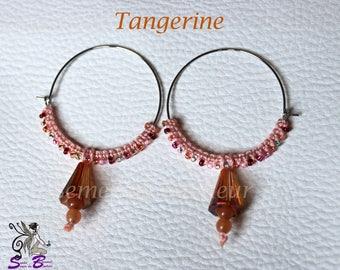 """Hoop earrings, Pearl and Crystal """"Tangerine"""""""