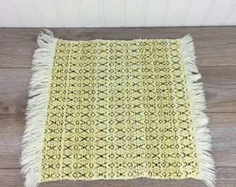 70's Knitted Placemat, Vintage Table Linen with Fringe, Place Mat, Centerpiece, Yellow & Brown, Retro, Boho Look Home Decor