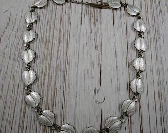 Volmer Bahner VB Denmark Sterling Silver Vintage White Enamel Leaf Necklace Toggle Clasp 37 Grams