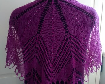 Hand knitted beaded lace shoulder shrug-silk / alpaca mix- understated elegance for everyday wear-Deep Purple