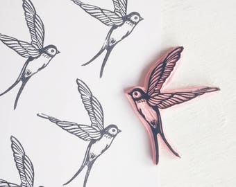 Bird Rubber stamp, Swallow Stamp, Flying Bird Stamp, Bird Lover Gift, Textile Printing stamp,  Handcarved Stamp
