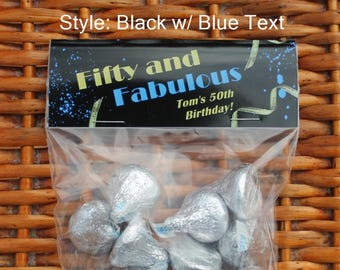 Fifty and Fabulous | 50th Birthday Favors | Fiftieth Birthday | 50 and Fabulous | 50th Birthday Treat Bags | Milestone Birthday - Qty 12