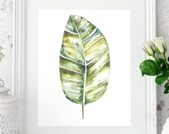 Palm leaf print, Tropical leaf print, Botanical art, Palm print, Wall decor, Tropical decor, printable artwork, Digital print, Leaf wall art