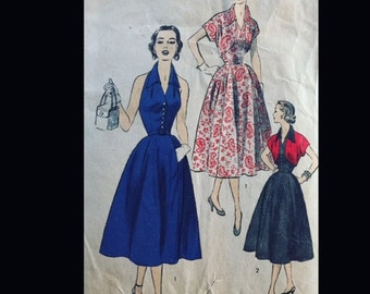 Vintage 50s Halter Marilyn Gored Skirt Curved Bolero Sexy Suit Sewing Pattern 6397 B34
