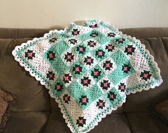 Handmade Crocheted Granny Square Baby Blanket