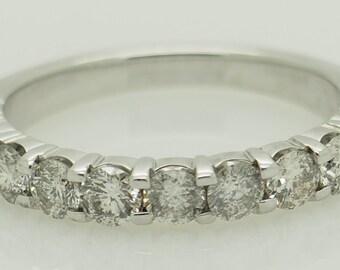 14K White Gold 0.77ctw G/SI1-SI2 Round Cut Natural Diamond Wedding Band Ring 6.5; sku # 5305