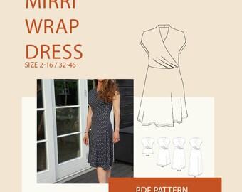 Wrap dress pattern, jersey wrap dress  kimono PDF sewing pattern| jersey wrap dress pattern|wrap dress PDF sewing pattern