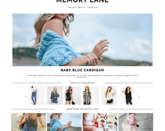 "Blogger Template ""Memory Lane"" / Photography Responsive Instant Digital Download Premade Blog Theme Design"