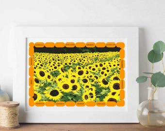Sunflowers Printable Art with signature