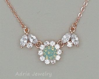 prasiolite Green Bridesmaid Necklace Green Opal Crystal Necklace Swarovski Necklace Mint Green Bridesmaid Jewelry Rose Gold Necklace