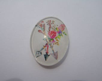 Cabochon 18 x 25 mm oval with his image feathers and arrows