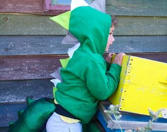 Kids Dinosaur Hoodie, Boy Dragon Hoodie, Dinosaur Sweater, T rex Costume, Dinosaur Party, Green Dinosaur Hoodie, Baby Boy Dinosaur,Baby Gift