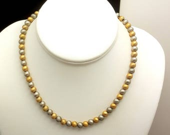 Vintage Gold and Silver Textured Bead Napier Choker