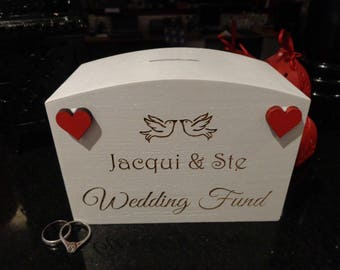 Personalised Wedding Fund Money Box - printed with couple name and doves, heart