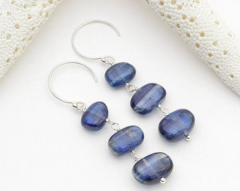 cobblestone - blue smooth kyanite sterling silver long drop earrings, modern long earring, hawaii jewelry, kailua jewelry