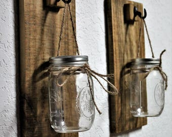 Rustic Wall Sconce, wood wall sconce, set of 2
