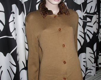 Vintage Philosophy by Alberta Ferretti.Longline cardigan with fake fur 'giraffe print' collar.