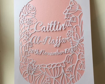Personalised Commemorative Hand made Papercut A4 Paper/Card.
