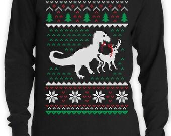 Ugly Christmas Sweater T-Rex VS Reindeer Funny Xmas Long Sleeve T-Shirt