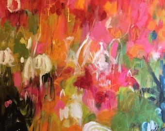 Abstract Painting Modern Art Original Mixed Media 30 x 40 Deep Canvas by Karen Fields