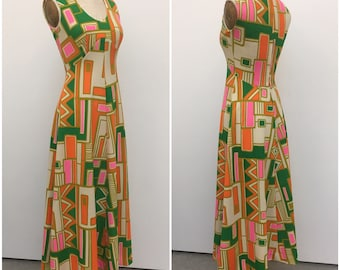 Vintage 1960s Geometric Maxi Dress | Sleeveless | Green, Pink, Orange, Cream