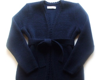 Women's knitted lambswool Cardigan with belt/no buttons/blazer/jacket/sweater cardigan