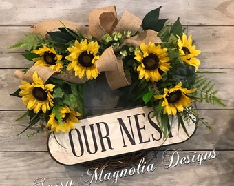Sunflower Wreath, Summer Wreath, Farmhouse Wreath, Spring Wreath, Door Wreath